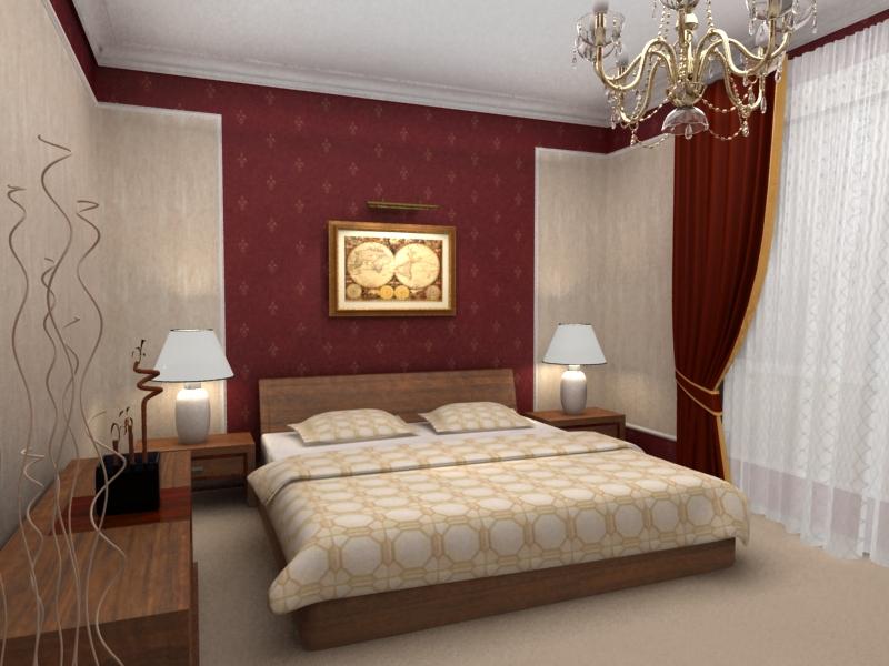 Спальня в бордовых тонах фото