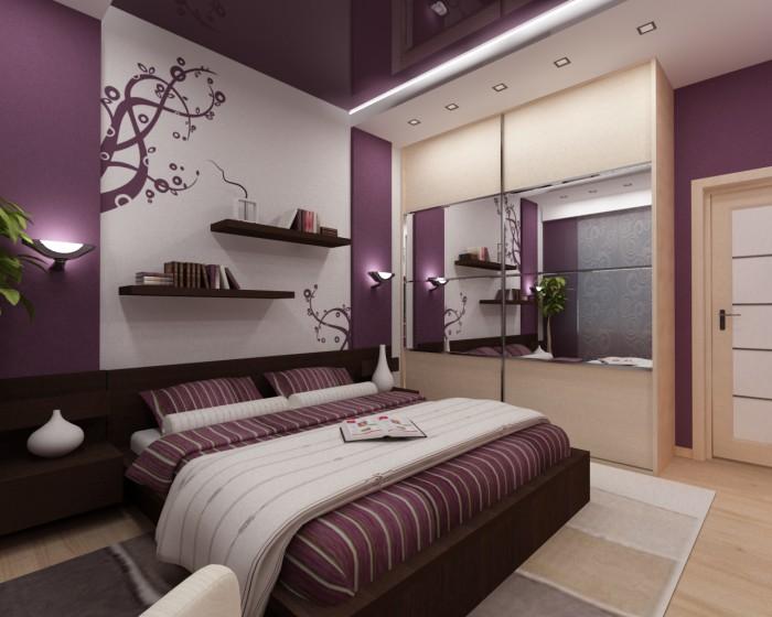 Интерьеры спален в фиолетовых тонах
