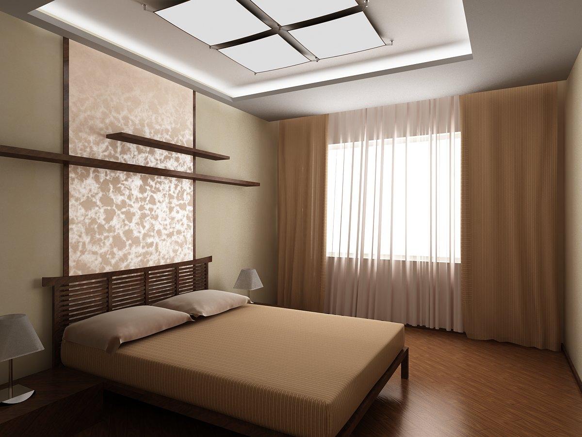Ремонт спальни 9 квм своими руками фото обои два цвета 2