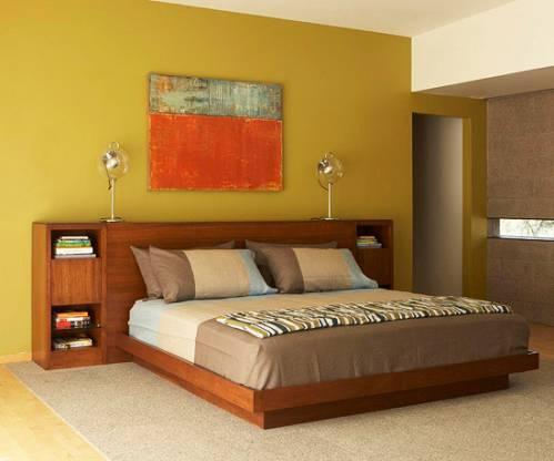 Интерьер спальни в красном цвете